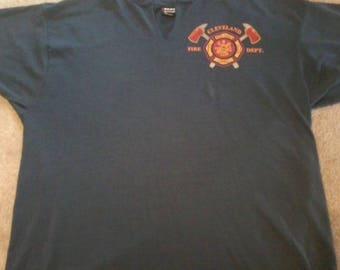 USA made Vintage 80s Cleveland FIRE FIGHTER 50-50 Blue shirt Thin-Soft Fire Deptarment Xl