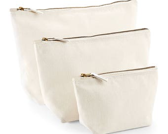 Westford Mill WM540 Craft Blank Cotton Accessory Make Up Bag Gusset Style Pouch Ideal To Personalise Wedding Birthday Christmas Gift