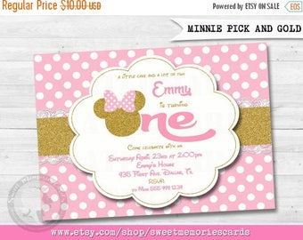 50% OFF SALE Pink and Gold Minnie Mouse Birthday Party Invitation, 1st Birthday, Gold Glitter, Polka Dot invite, Girl, Printable Invitation,