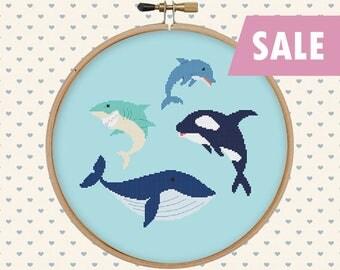 Sea animal cross stitch pattern pdf - orca, whale, dolphin, shark - instant download - nautical cross stitch