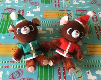 Vintage Flocked Teddy Bear Ornaments - Set of 2