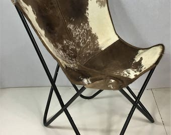 Superb Brown And White Hair Cowhide Butterfly Chair   Cod 10095