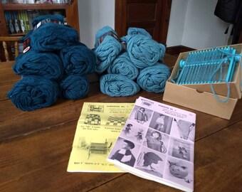 Vintage 1970's sea toned afghan block weaving kit -- Wonder Weave, with ten 3.5 oz skeins of 4-ply 100% wool yarn!
