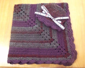 New Handmade Crochet Baby Blanket and Hat/Beanie Set - Purple Stripe - Alphabet Theme ABC - A Wonderful Baby Shower Gift!! - SEE NOTE!