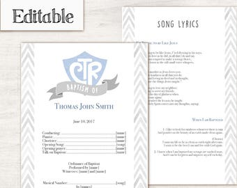 Baptism Program, Editable PDF, LDS Printable Digital Handout boy Baptism, blue, Grey, watercolor, Baptism Template
