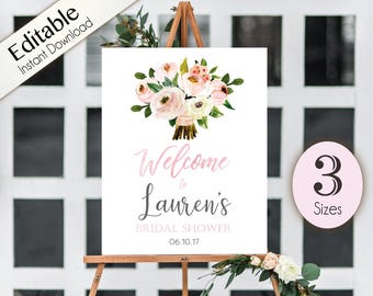 Welcome Sign Bridal Shower Template, Editable PDF, 3 sizes, Printable, Instant Download, Bridal Wedding Shower Sign, Welcome Sign flowers