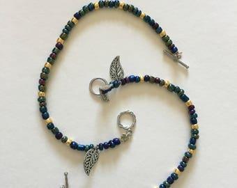 Iridescent Bead Leaf Bracelet