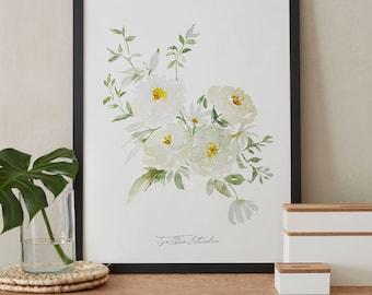 White Pastel Rose Peony Watercolor Painting, Peonies Flower, Printable Art, Original art, Instant Download
