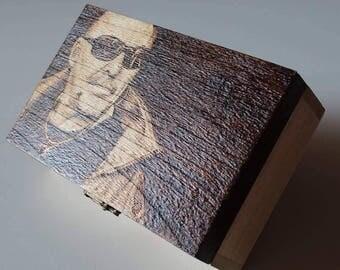 Custom wood burned jewelry box