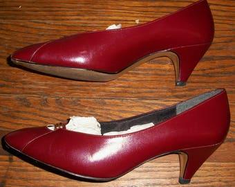 80's Burgandy LifeStride Pumps or Heels 6-1/2