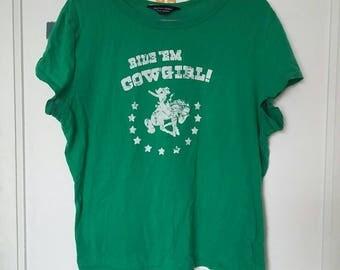 Tomboy Vintage Cotton Green T Shirt