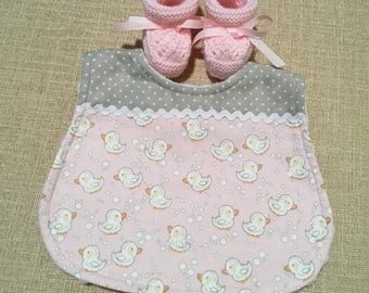 Pink and grey baby  bib and bootie set perfect for a baby shower or gift for a new Mum to be.