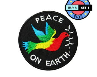 Peace On Earth Embroidered Iron On Patch Heat Seal Applique Sew On Patches