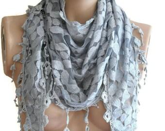Supplementary Accessory, Summer scarf, Gray Headband, Gray Pareo, Bridal Accessory, Triangle Scarf,  Bridal Accessories, Fashion Accessory
