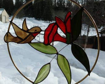 Stained Glass Sun catcher, Hummingbird in brass ring.  handmade, copper foil with copper patina