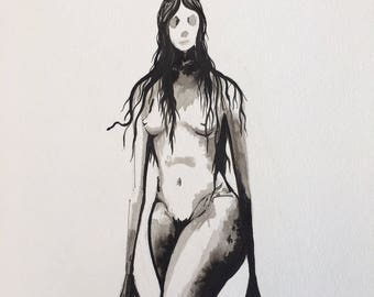 Ghost monster woman with antlers 11 x 15 inch drawing