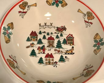 Vintage Jamestown The Joy of Christmas 9 inch round Bowl
