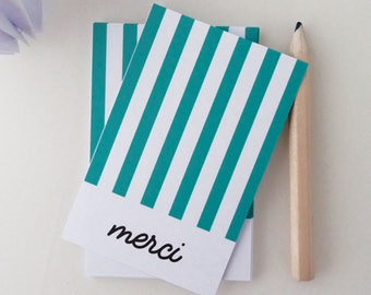 Set of 18 cards of thanks to stripes green duck