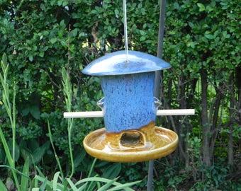 Handmade Pottery Bird Feeder, Bird Feeder, Pottery Bird Feeder, Wheel Thrown and Altered Bird Feeder