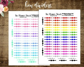 Printable Bow Dividers Planner Stickers // Erin Condren // Happy Planner // Mini Happy Planner // Planner Printables // Printable Stickers