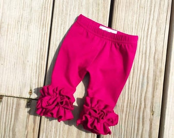 Plum ruffle leggings, icing newborn pants, fall plum pants
