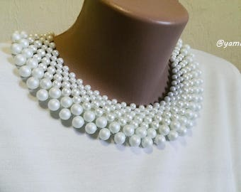 Collar beaded necklace Necklace elegant Detachable Lady pearl collar Necklace White collar Neck lace is very elegant