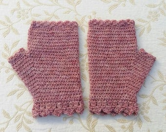 Fingerless mitts in pure wool, crochet gloves, fingerless gloves, crochet mittens, handwarmers, women's gloves, winter accessory