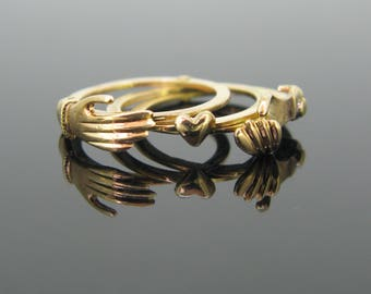 RARE Fede ring / Gimmel ring, early 19th, 18kt gold, 3 bands