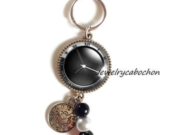 Keychain, Cabochon Clock Watch, Glass, pearl, black Color, Jewelry Bag