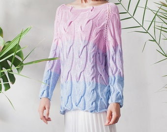 Summer sweater Lilac Cotton Sweater boho striped blouse knitted sweater pink blue