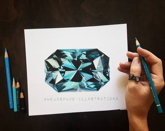 ORIGINAL Blue Topaz Gem Stone Colored Pencil Art by Headspace Illustrations