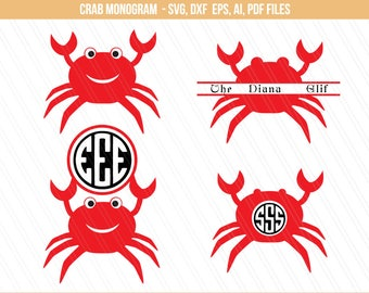 Crab Svg, Crab monogram svg, Nursery decor, Crab split monogram, Sea animals svg, monogram svg, Crab cut file - Svg,ai,pdf,eps,dxf