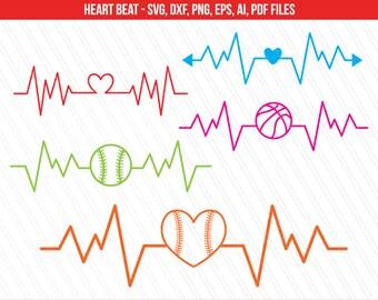 Heart beat SVG, Sports svg, Basketball baseball heart heartbeat svg, Cricut, Silhouette, Pulse beat svg - Svg, dxf, png, Ai, Pdf, Eps