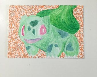 Pokemon Bulbasaur Painting 5x7 Watercolor