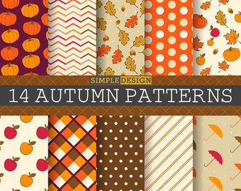 Fall Digital Paper, Autumn Digital Paper, Autumn Paper Pack, Autumn Leaves Paper, Autumn Patterns, Fall patterns,Chevron, Leaves, Pumpkins.
