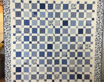 "Blue and White block quilt 81"" square"
