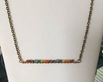 Rainbow Chakra Bronze necklace, Bar necklace, Crystal pendant necklace