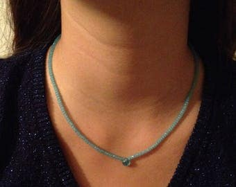 Pearl Necklace with a drop blue