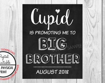 Pregnancy Announcement Sign, Pregnancy Reveal, Big Brother, Printable, Photo Prop, Instant Download, Chalkboard Sign, August 2018