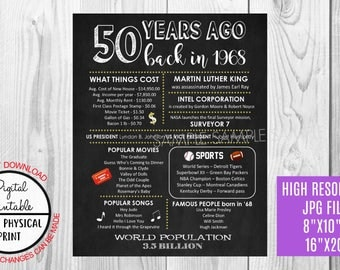 50th Birthday Poster Sign, Back in 1968 Chalkboard Style Poster, Printable, Digital, Instant Download, 1968 Facts, 50 years ago poster sign