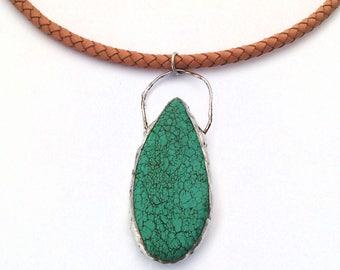 Turquoise Necklace, Teardrop Howlite Necklace, Large Gemstone Necklace, Boho Necklace, Natural Stone