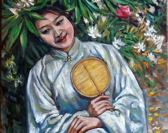 Original Oil Painting, Old Fashion Chinese Girl in Garden, 70cmx50cm, 27.5x19.6inch, 1802132