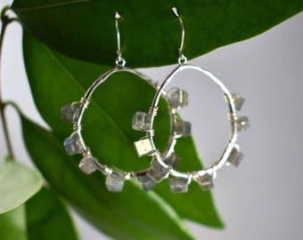 Labradorite Cube Hoop Earrings