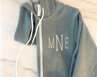 Full Zip Bella + Canvas Fleece Hoodie | Monogram Sweatshirt | Personalized Sweatshirt | Monogram Hoodie | Full Zip Fleece