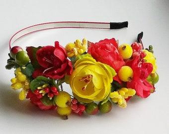 Red floral crown Flower headband Hair Vine Bridal headband Flower crown Flower wreath Hair band Headwear Festival Garland Wedding circlet