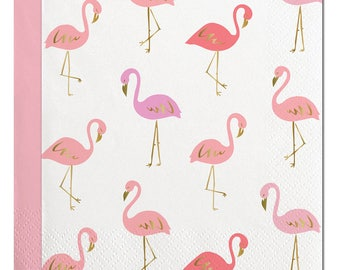 Flamingo Napkins,Flamingo Party, Let's Flamingle,Summer Napkins,Summer Party,White and Gold,Gold Foil Napkins,Pink Flamingo,Flamingo