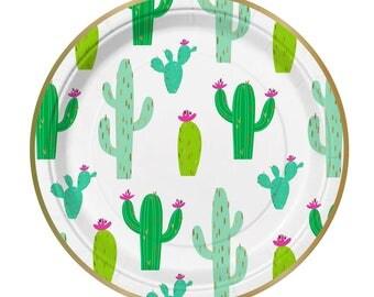 Cactus Party Plates, Cactus Plates, Cactus Paper Plates, Fiesta Party Plates, Fiesta Party, Cactus Party, Cactus, Unique Cactus Plates