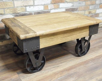 Industrial coffee table reclaimed wood Unit console with wheels Vintage style rustic antique distressed bespoke unique mine cart iron