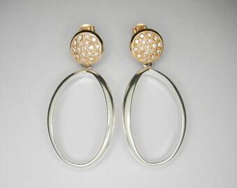Silver earrings, Drop earrings.