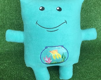 Fish Tank Monster - Stuffed Animal - Pillow  - Goldfish - Vinyl - Embroidery - Couch Monster